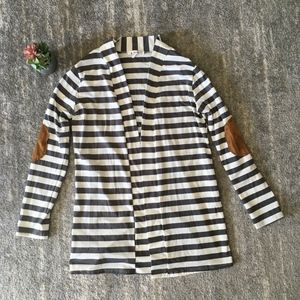 Angvns Striped Open Front Cardigan - XL